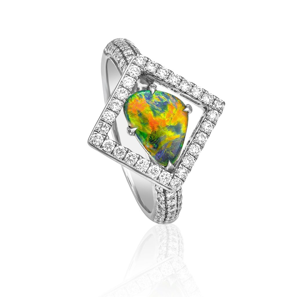 Alliam Jewellery - Lightning Ridge Black Opal 18k Gold & Diamonds